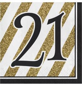 creative converting Black & Gold '21' Lun Napkins - 16ct.