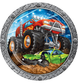 "creative converting Monster Truck Rally 9"" Plates - 8ct."