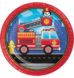 """creative converting Flaming Fire Truck 9"""" Plates - 8ct."""