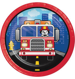 """creative converting Flaming Fire Truck 7"""" Plates - 8ct."""