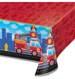 """creative converting Flaming Fire Truck Tablecover - 54"""" x 102"""""""