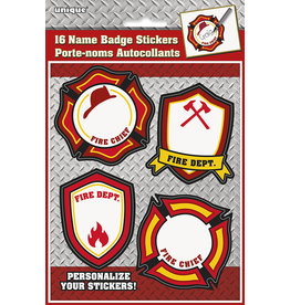 unique Fire Fighter Name Badge Stickers - 16ct.