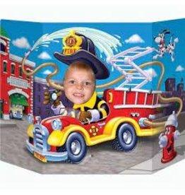 Beistle Flaming Fire Truck Photo Prop