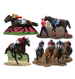Beistle Horse Racing Cutouts - 4ct
