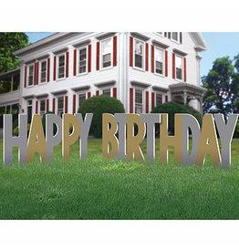 Amscan Happy Birthday Lawn Signs - Silver/Gold