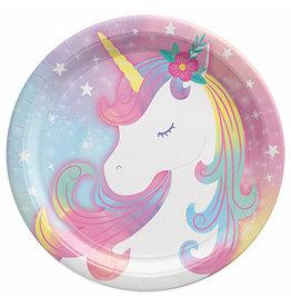 "Amscan Enchanted Unicorn 7"" Plates - 8ct."