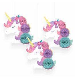 Amscan Enchanted Unicorn Honeycomb Decorations - 3ct.