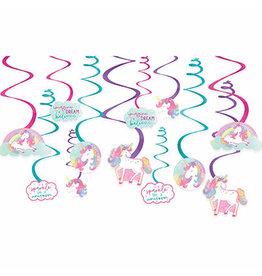 Amscan Enchanted Unicorn Swirl Decorations - 12ct.