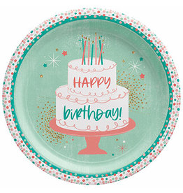 """Amscan Happy Cake Day 10.5"""" Plates - 8ct"""