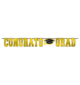 Amscan Yellow Congrats Grad Foil Banner - 12ft.