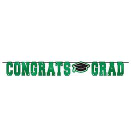 Amscan Green Congrats Grad Foil Banner - 12ft.