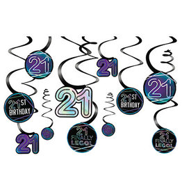 Amscan Finally Legal '21' Swirls - 12ct.