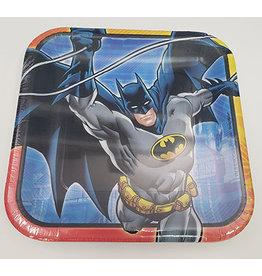 """Amscan JL: Batman 9"""" Sq. Plates - 8ct."""