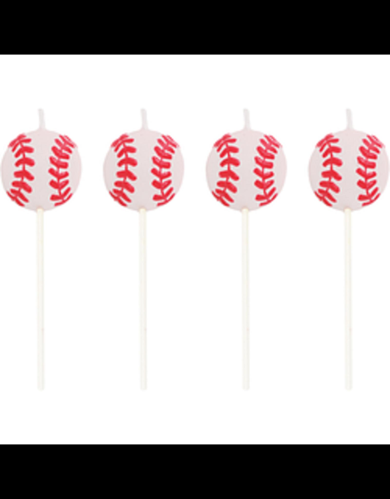 """creative converting 3"""" Baseball Candles - 4ct."""