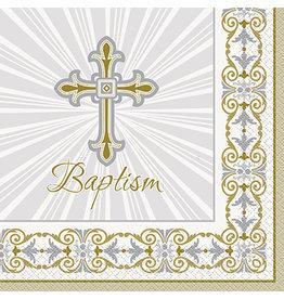 unique Radiant Cross Baptism Lun. Napkins - 16ct.