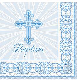 unique Blue Rad. Cross Baptism Lun. Napkins - 16ct.