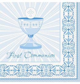 unique Blue Rad. Cross Communion Lun. Napkins - 16ct.