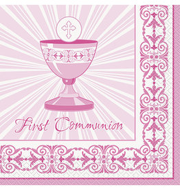 unique Pink Rad. Cross Communion Lun. Napkins - 16ct.
