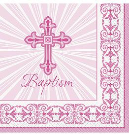 unique Pink Rad. Cross Baptism Lun. Napkins - 16ct.