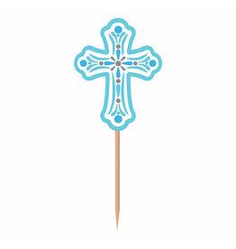 Amscan Blue Religious Cross Picks - 36ct.