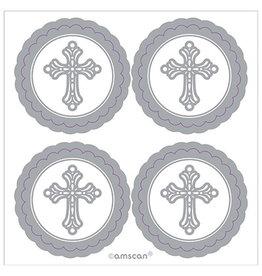Amscan Silver Cross Decorative Labels - 20ct.