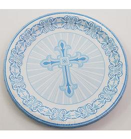 """unique Blue Radiant Cross 7"""" Plates - 8ct."""
