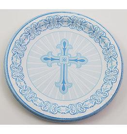 """unique Blue Radiant Cross 9"""" Plates - 8ct."""