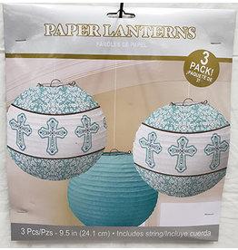 Amscan Blue Religious Lanterns w/ Cross - 3ct.