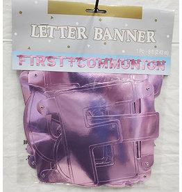 Amscan 1st Communion Pink Banner - 8ft.