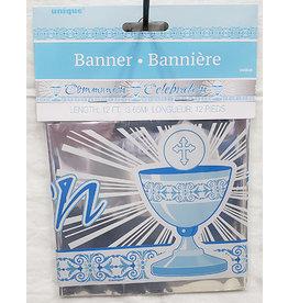 unique Blue Radiant Cross Communion Banner - 12ft.