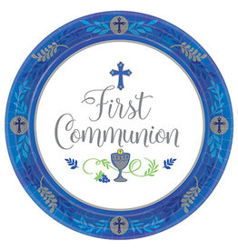 """Amscan Blue Communion Day 10.5"""" Plates - 18ct."""