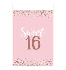 "Amscan Sweet 16 Birthday Blush Tablecover - 54"" x 102"""