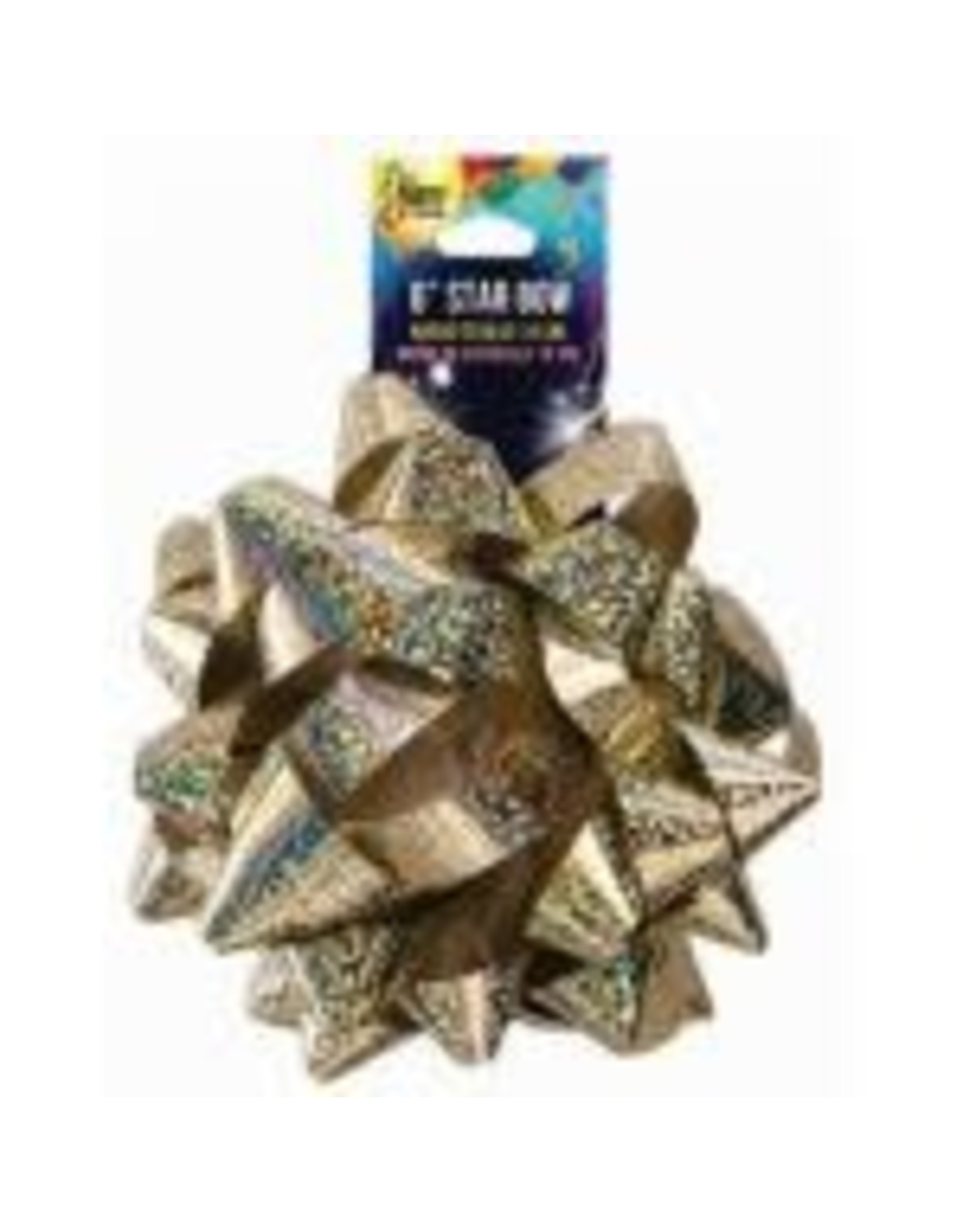 """SKD Party by Forum 6"""" Gold Star Holographic Bow - 1ct."""