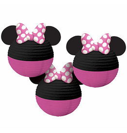 "Amscan Minnie Mouse 9.5"" Paper Lanterns - 3ct."