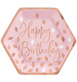 "Amscan Blush Birthday 7"" Plates - 8ct."