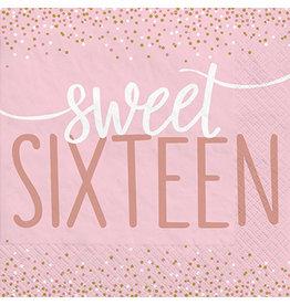 Amscan Sixteen Blush Birthday Lun. Napkins - 16ct.