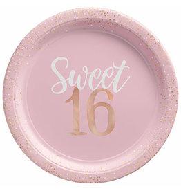 "Amscan Sixteen Blush Birthday 10.5"" Plates - 8ct."