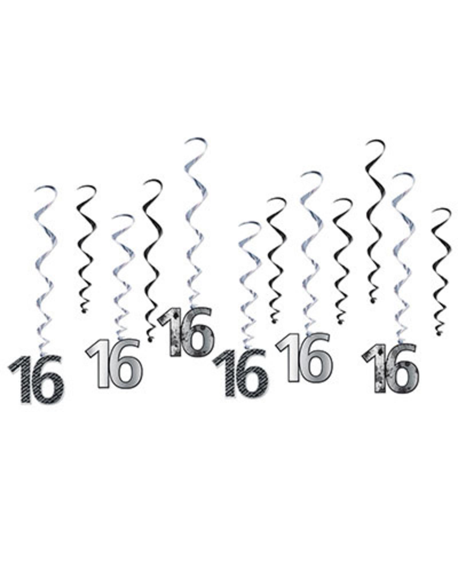 """Beistle """"16"""" Silver Birthday Whirls - 12ct."""