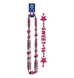Beistle Sweet 16 Beads - 2ct.(Pink/Black)