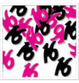 Beistle Pink & Black '16' Confetti