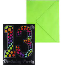 Amscan 13th Birthday Invites - 8ct.
