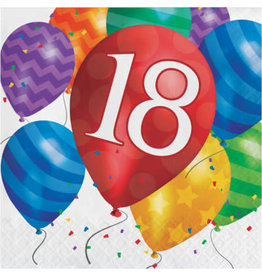 creative converting Balloon Blast 18th Lun. Napkins - 16ct.