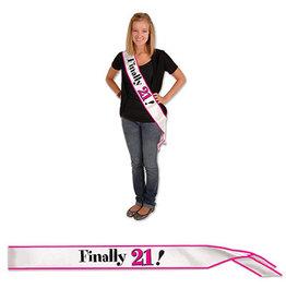 Beistle Finally 21! Pink Satin Sash