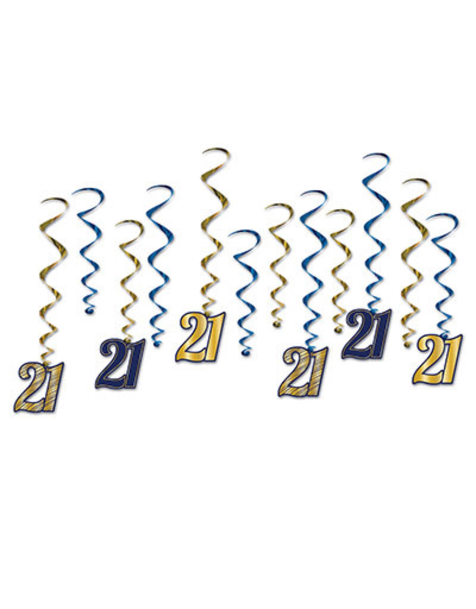 "Beistle ""21"" Blue/Gold Whirls"