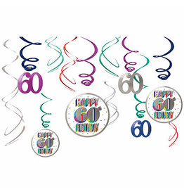 Amscan Heres To 60 Swirl Decorations - 12ct.