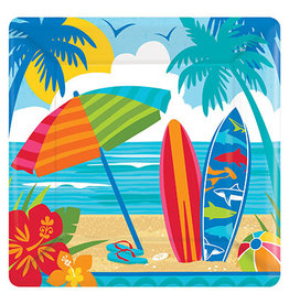 """Amscan Sun and Surf 7"""" Sq. Plates - 18ct."""
