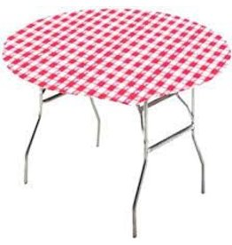 """creative converting 60"""" Round Red  Gingham Stay-Put Tablecover"""