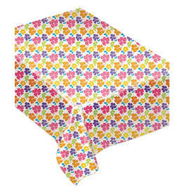 """Amscan Hibiscus Flower Flannel Backed Tablecover - 52"""" x 90"""""""