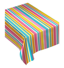 """Amscan Multi-Color Striped Flannel Backed Tablecover - 52"""" x 90"""""""
