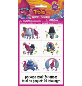 unique Trolls World Tour Tattoos - 24ct.